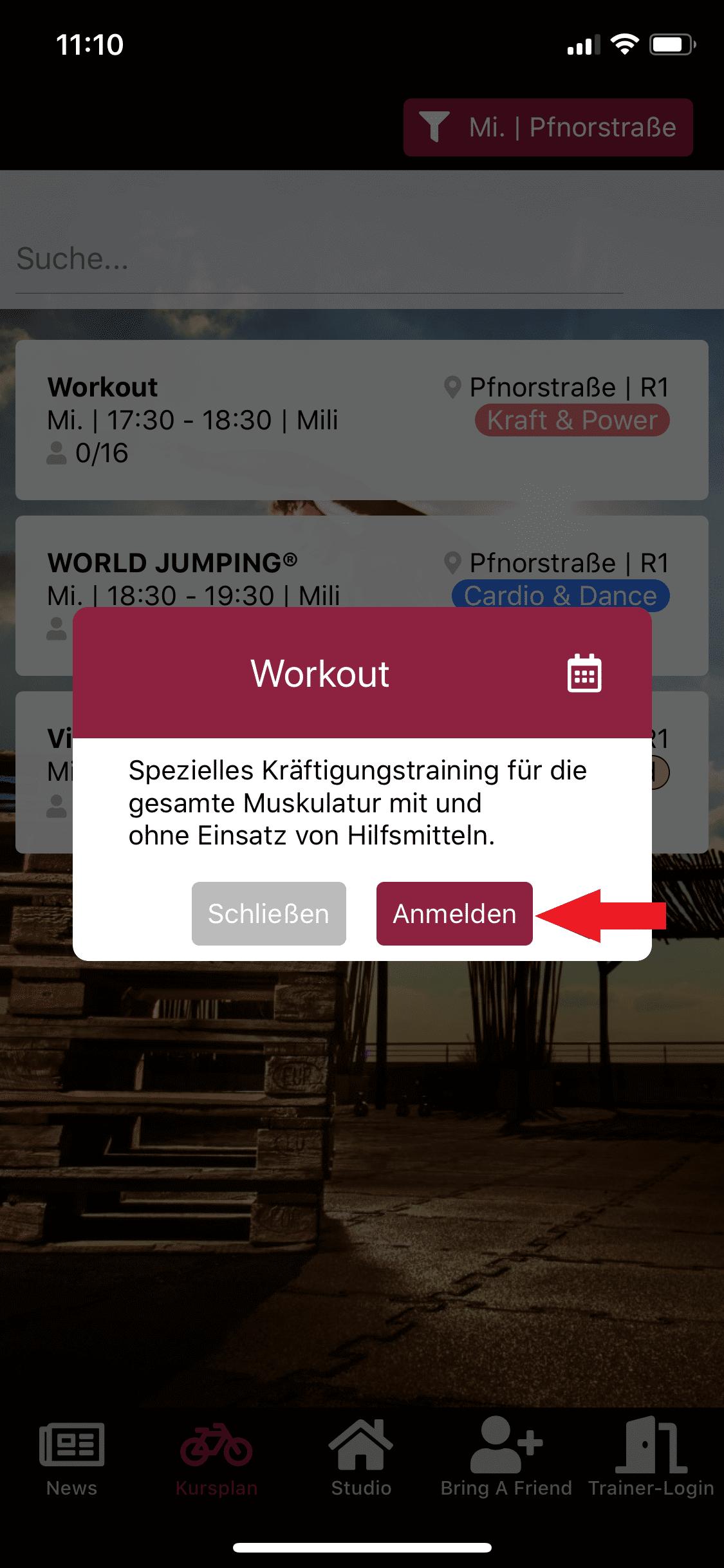 Zum Workout Kurs anmelden